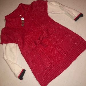 3T Little Lass red sparkle sweater